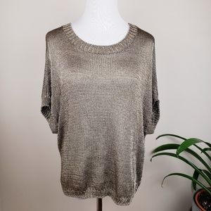 Vince // Metallic Gold Open Knit Slouchy Top